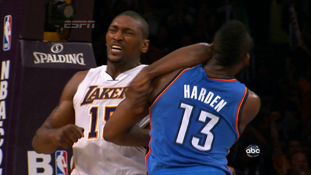 Ron-Artest-elbows-James-Harden
